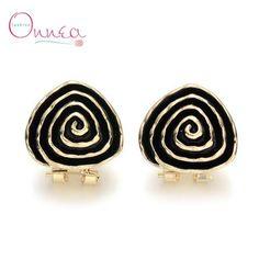Multilayer Black Clip on Oval Stud Earrings Men Women Punk Brincos Ear Earing…