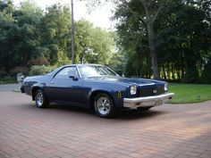 """73 Chevy El Camino SS. I rebuilt and customized it from the frame up. 455/430 hp completely rebuilt with Mondello Olds parts. Olds turbo 400 trans with shift kit and Hurst Pro-Matic shifter. Chevy 411 posi rear and Crager wheels. """"Code Blue"""""""
