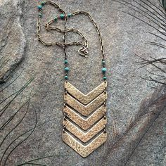 Tribal Rustic Chic Chevron Necklace Long Turquoise by GemmaLuna