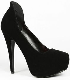 Black Velvet Stilleto Heel Platform Pump 8 us Qupid Penelope-38 | eBay= I wish all heels had a back to them like these, they make you never want to wear any other shoe!