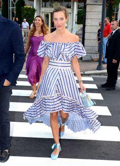 micol sabbadini off shoulder dress beatrice borromeo wedding