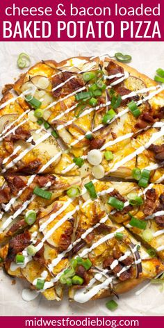 This potato pizza has all the flavors of a classic loaded baked potato - onion, cheese, bacon, sour cream and green onions - but in hand held pizza form! Potatoe Pizza, Baked Potato Pizza Recipe, Bacon Pizza, Kielbasa And Potatoes, Loaded Baked Potatoes, Perfect Baked Potato, Best Macaroni And Cheese, Braised Brisket, Pizza