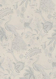 Saga II (29150) - Brian Yates Wallpapers - A stunning floral trail design with lots of intricate detailing and peacocks. Showing in grey on cream - other colour ways available. Please request a sample for true colour match. As this is a special order it may take 10-14 working days.