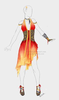 Outfit adopt: Fire dress - Closed by Sellenin on DeviantArt