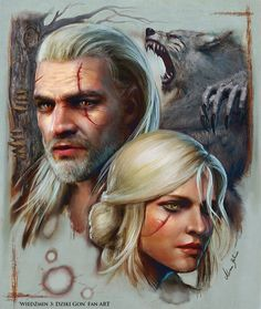 Geralt and Ciri, Adrian Bilozor on ArtStation at https://www.artstation.com/artwork/geralt-and-ciri