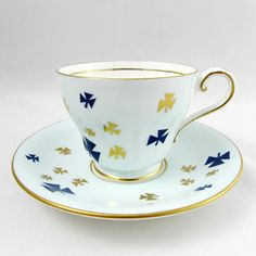 Aynsley Blue Trefoil Tea Cup and Saucer, Girl Guides Tea Cup, Vintage Bone China