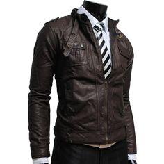 Mens slim leather jacket