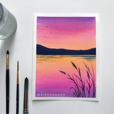 Watercolor Art Lessons, Watercolor Paintings For Beginners, Simple Canvas Paintings, Small Canvas Art, Diy Canvas Art, Canvas Painting Nature, Small Paintings, Watercolor Artists, Watercolor Portraits