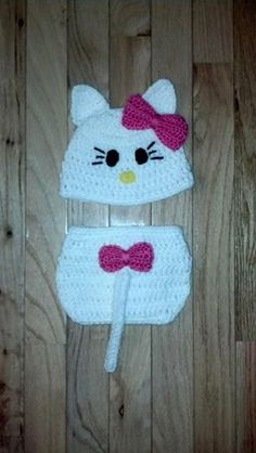 Hello Kitty Crochet Hat and Diaper Cover set