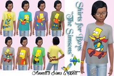 """Annett`s Sims 4 Welt: Shirts for Boys """"The Simsons"""" • Sims 4 Downloads"""
