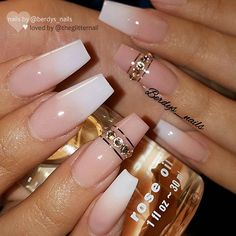✨ REPOST - - • - - French Fade and Nude with Crystals on long tapered Square Nails ✨👌 - - • - - 💅 Na... #yooying