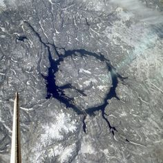 You may know of the Barringer meteorite crater in AZ, but many more impact craters have been found around the world. This is the 212 million year old Manicouagan Crater in Quebec.