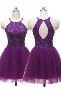 Sexy Jewel Straps Sleeveless Open Back Purple Homecoming Dress Sequins