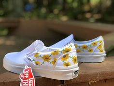 This painted flower vans is just one of the custom, handmade pieces you'll find in our tie sneakers shops. Custom Vans Shoes, Custom Painted Shoes, Painted Vans, Custom Slip On Vans, Painted Sneakers, Custom Made Vans, Vans Slip On Shoes, Custom Af1, Van Shoes