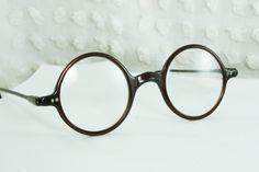 30s Glasses 1930's Round Eyeglass Dark Brown Circle Horn Rim Round Nose Bridge 42/26 Unisex Optical Frame. $134.00, via Etsy.