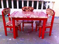 Kid's Table & Chair Set, red, shabby, chic, children's, table and chair, set, farmhouse, country, cottage, French, vintage, by ReincarnatedwithLove on Etsy https://www.etsy.com/listing/202613594/kids-table-chair-set-red-shabby-chic