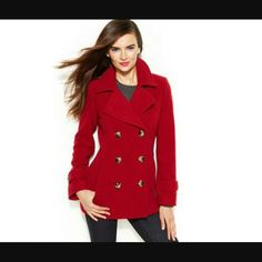 Red pea coat Brand new has gold on the buttons and belt paid $90 Jackets & Coats Pea Coats
