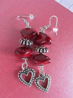 Red Stone Earrings Heart Earrings Red by BrownBeaverBeadery