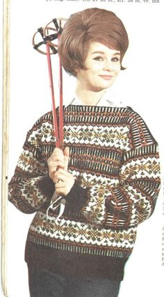 . Vintage Ski, Knitted Hats, Knitting Patterns, Diy And Crafts, One Piece, Sweaters, Retro, Fashion, Threading
