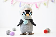 Pompom hat penguin has expressive crocheted eyes, cute body shape and lifelike flippers. He is feeling so cosy with his warm wrap-around-the-neck hat. This 2 in 1 pattern includes full instructions for making the penguin as well as the crochet hat, which can be used as a photo prop hat for newborn. The toy doesn`t include any stiff parts, so it`s a perfect gift for babies.
