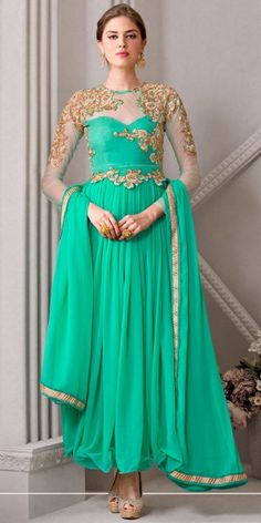 Eye-Catchy Green Georgette Anarkali Suit With Dupatta.