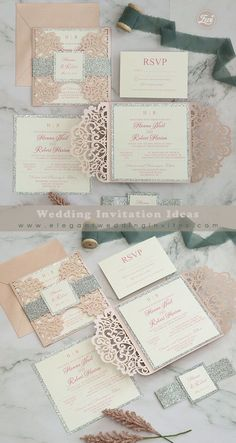 blush and silver glitter laser cut wedding invitation with belly bands and tags EWWS296