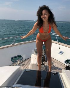 Abs-olutely stunning: The singer displayed her enviable figure in the orange bikini, which drew attention to her incredibly toned stomach and tiny waist as she posed on the luxurious vessel Little Mix Jesy, Little Mix Girls, Jesy Nelson, Perrie Edwards, Leigh Ann, Orange Bikini, Female Singers, Girl Crushes, Swimsuits