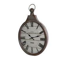 16.5 in. x 11.25 in. Conductors Pocket Watch Wall Clock, Brown & Gray