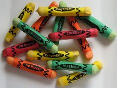 Edible crayons (pretzels dipped in candy coating and wrapped in cute label). Fun party idea too!