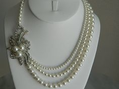 Wedding Necklace-I'd love to make this for you, maybe with one of grandma's pieces. a
