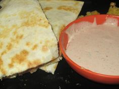 Chili's chicken bacon ranch quesadillas and mexi ranch dressing