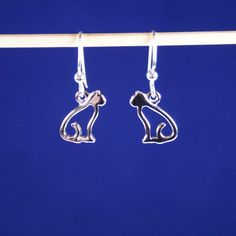 Silver Rhodium Open Cat Earrings in 925 Sterling Silver Plated Rhodium with 925 Sterling Silver Filled Fish Hook Ear Wires with Ball Ends