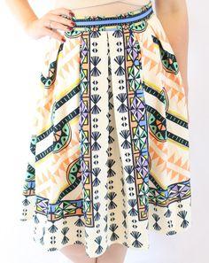 Mixed print Flair Skirt