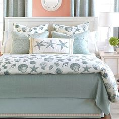 Shoreline Seashells Luxury Bedding Collection. Duvet Covers, Bedskirts, Coverlets and Shams.