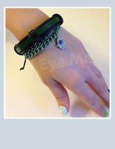BlackMetallic Green Khamsa Bracelet by EvilEyeMe on Etsy, $24.99