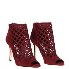 Jimmy Choo 'Drift' Burgundy Suede High Top ($1,075) ❤ liked on Polyvore featuring shoes, boots, ankle booties, heels, booties, footwear, burgundy booties, heel boots, suede booties and burgundy boots