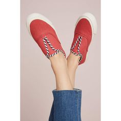 SeaVees Sunset Strip Sneakers ($98) ❤ liked on Polyvore featuring shoes, sneakers, red, seavees sneakers, seavees, spot shoes, polka dot shoes and red shoes