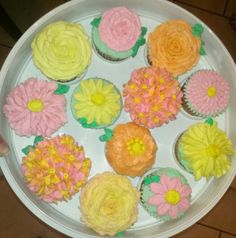Pink yellow flower cupcake cakes cupcakes ive made flower cupcakes pink yellow orange mightylinksfo
