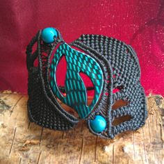 Unique handmade macramé Bracelet, Waxed black thread, blue beads, Αdjustable size