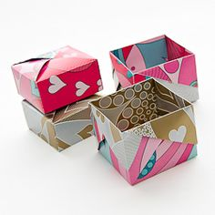 Learn how to fold origami boxes from single sheet of paper - no cutting or glue required! Gift Origami Box by Robin Glynn & Krimskrams Box by Carmen Sprung. Origami And Kirigami, Diy Origami, Origami Paper, Diy Paper, Paper Crafts, Origami Ideas, Origami Hand, Simple Origami, Origami Jewelry