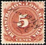 Issue de la première série de timbres pour enregistrement de 1864.