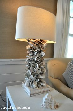DIY Sea Inspired Furniture-using oyster shells Oyster Shell Crafts, Oyster Shells, Sea Shells, Seashell Art, Seashell Crafts, Beach Crafts, Deco Marine, Shell Lamp, Lampe Decoration