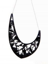 Acrylic statement necklace etched and laser cut. Buy from madefromscotland.com/wondergarden-necklet-black.html