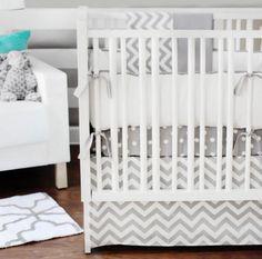 """Zig Zag"" crib set: crib sheet, crib skirt, bumper and blanket."