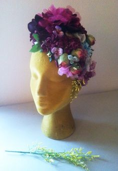 How Does Your Garden Grow...Purple Floral Spring Headdress Bohemian Couture Frida Headpiece Fascinator Vintage Hat  Millinery Flowers Roses