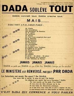 Dada soulève tout / #blog : L'aventure surréaliste. Petit traité du Dadaïsme et du Surréalisme à travers la peinture et la poésie #arthistory #surrealism #dada #resources #painting #poetry (in french)