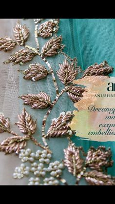 Sparkle yourself up with Anushree Reddy's detailed work & enchanting embellishments. Snippets of 'The Royal Courtyard', showcasing this Zardosi Embroidery, Tambour Embroidery, Bead Embroidery Patterns, Hand Work Embroidery, Couture Embroidery, Embroidery Suits, Hand Embroidery Designs, Beaded Embroidery, Embroidery Stitches