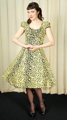 H & R London Flocked Leopard Swing Dress