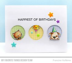 Stamps: Up in the Air, New Best Friend, Happy Hippos, More Essential Sentiments Die-namics: Inside & Out Stitched Circle STAX  Francine Vuillème   #mftstamps