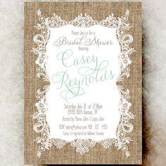 Burlap Lace Bridal Shower Invitation - Rustic bridal showerm Cottage chic bridal shower, mint green invitation, country bridal shower